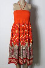 Kleid Gr. 36-38 orange-bunt knielang Neckholder Paisley Babydoll Strand Kleid