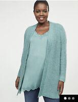 Sweater 18/20 Lane Bryant Ribbed Cardigan Aqua/Teal Plus Size 2X Overprice NWT