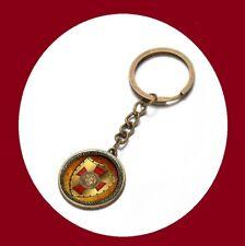 Crusader Knights Templar Seal Masonic Glass Dome Freemason Keychain Key Ring