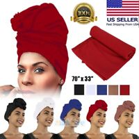 70inch Compy Stretch Long Black Head Wrap African Hair Head Scarf Tie 5 Colors