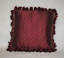 burgundy red decorative silk tuck pleated traditional pillow with tassel fringe