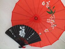 CHINESE JAPANESE S RED PARASOL BLACK LUCK HAND FAN WEDDING GIRL WOMEN UMBRELLA