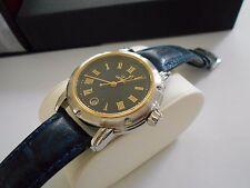 Mint Rare Men's Gevril S0111 SS/18K Solid Gold Leather Quartz Watch Box  #1356