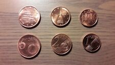 ITALIA 2008: TRIO DE MONEDAS DE 1 + 2 + 5 CÉNTIMOS DE EURO. NUEVAS, S/C