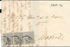 España.1875 Carta con tres sellos Impuesto de Guerra