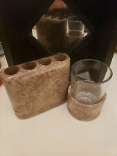 Waterstone Inc. Tooth brush holder Tumbler w/ glass insert Mocha Marble
