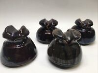 Lot of 4  Vintage Glazed Ceramic Brown Clay Electrical Insulators #2