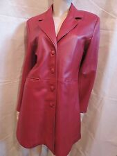BEAU MANTEAU   VESTE  CUIR ROUGE  VINTAGE  T 42/44   RED LEATHER COAT