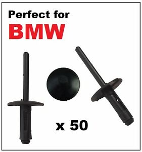 50 x 6mm BMW PLASTIC POP BLIND RIVETS for WHEEL ARCHES SIDE SKIRTS SILLS BUMPER