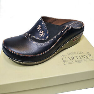 L'Artiste Black Leather Clog Slip On Platform Mule Shoes Chino Open Back Comfort