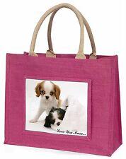 Cavalier King Charles 'Love You Mum' Large Pink Shopping Bag Chr, AD-SKC10lymBLP