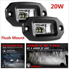 2Pcs 20W Flush Mount LED Pods Flood Work Light Bar Car Offroad Pickup Waterproof