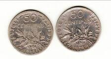 RARE DUO 50 CENTIMES TYPE SEMEUSE ARGENT  1899/1901   b2 t2