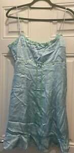 Urban Outfitters UO Babydoll Lacey Satin Mini Dress Blue/ Green  L UK 12 New £49