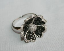 1 CTW Black and White Diamond Flower Ring Rhodium Sterling Silver
