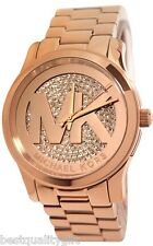 MICHAEL KORS RUNWAY ROSE GOLD TONE+LOGO PAVE CRYSTAL DIAL MIDSIZED WATCH MK5853