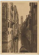 ANTIQUE VENICE ITALY ITALIAN SCENERY VENETIAN CANAL BOAT GONDOLA SEPIA OLD PRINT