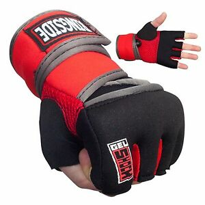 New Ringside Gel Boxing MMA Quick Handwraps Hand Wrap Wraps - Red/Black - L/XL