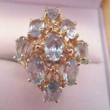 Vintage Oval 4.14 Ct. Cluster Aquamarine Ring in 10k Yellow Gold Size 8.5