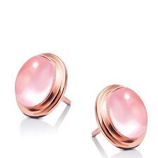 Women 925 Sterling Silver Jewelry Elegant Pink Ross Quartz Ear Stud Earrings