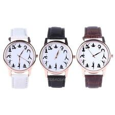 Women Fashion Yoga Pattern Faux Leather Watch Analog Quartz Vogue Wrist Watches
