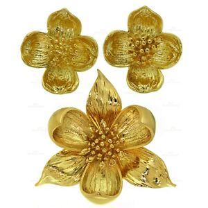 TIFFANY & CO. Dogwood Flower Sterling Silver Gold Plated Earrings & Brooch Set