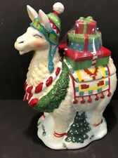 Blue Sky Clayworks Ceramics Christmas Llama Wreath Presents Cookie Jar Rare