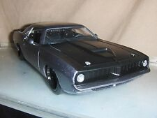 Toy Jada Dub 1:24 Grey 1973 Plymouth Barracuda Hot Rod diecast car