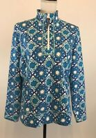 T By Talbots Size XLP 1/2 Zip Pullover Jacket Women Athletic Yoga Aqua Blue