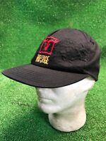 Red Savage Bull Ranch Farm Horse Black Usa Made SnapBack Hat Cap Skull Vtg