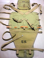 "WWII US M1928 HAVERSACK + CARRIER & Leather STRAP ""Tail Pack Carrier"" - Repro"