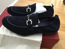 NEW Salvatore Ferragamo Celso Blue Suede Loafers 7 EEE wide Italy Navy Classic 8