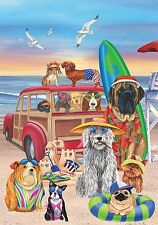"Dog Days of Summer House Flag Beach Surfboards Sandcastle 28"" x 40"""