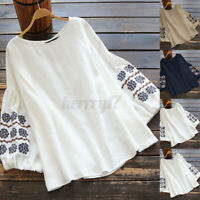 ZANZEA UK Women Puff Long Sleeve Cotton Embroidery Shirt Casual Loose Top Blouse