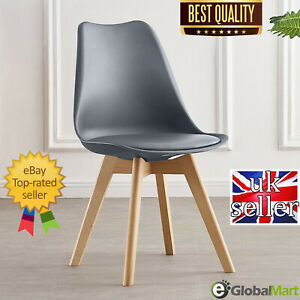 NEW Jamie tulip Eiffel Dining Chairs Retro Solid Wood Legs Lounge Office Padded