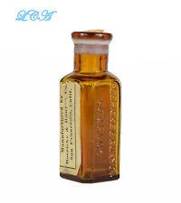 Tiny AMBER antique SAN FRANCISCO Homeo PHARMACY bottle EMBOSSED w/ label