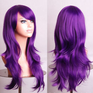 "Long Purple Wig Wavy Hair with Curls Mardi Gras Wig 28"" Halloween Costume"