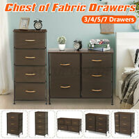 Fabric Drawers Nightstand Chest of Dresser Bedroom Storage 3/4/5/7 Bin Furniture