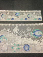 Caravan  Curtain Beautiful  Nettex -Neptune 30 cm plus 60 cm -White and Blue