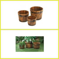 Flower Pot Garden Set Wooden Apple Barrel Planter Rustic Whiskey Bucket Pail