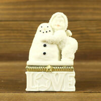 Department 56 Snowbabies Winter Silhouette White Porcelain, I Love You Box Opens