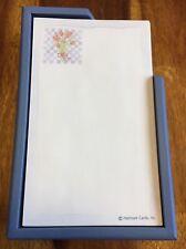 Vintage HALLMARK floral tulip decorated sheets notepaper w/ blue plastic holder