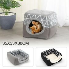 Pet Cat Dog Nest Bed Puppy Soft Warm Cave House Closed Cat Room Sleeping Mat UK