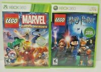 Xbox 360 Game Lot LEGO Harry Potter + Lego Marvel Super Heroes Tested + Works