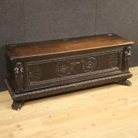 Chest Italian furniture bench trunk in wood antique style Renaissance 900