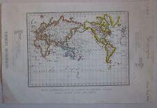 1845 PLANISFERO IMPERO BRITANNICO acquaforte Marmocchi world map British Empire