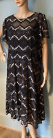 M&S Ladies lace overlay Two Part Fit And Flare Dress U.K.Size 14 Black Mix BNWOT