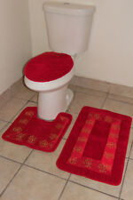 3PC #5 RED BATHROOM SET CONTOUR TOILET LID COVER MATS RUGS EMBROIDERY