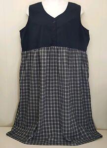 Bobbie Brooks 26W Dress Jumper Black Gray Plaid Long Modest Church Pockets