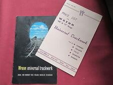 Wren universal trackwork catalogue  with original price list May 1959